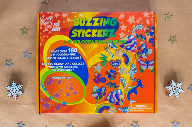 The Buzzing Stickerz box from Buzz Art showing a number of sticker designs you can make