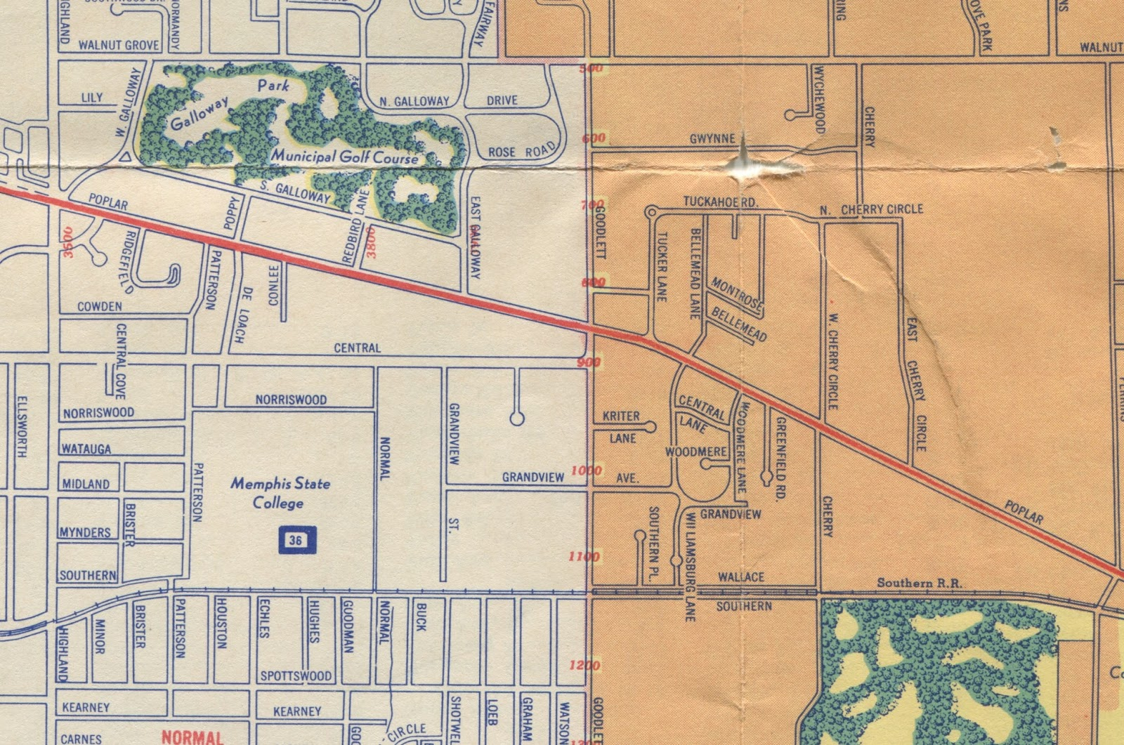 the village is seen on this 1949 asbhurn map on the south side of poplar the road highlighted in red just east of goodlett the roadway separating the