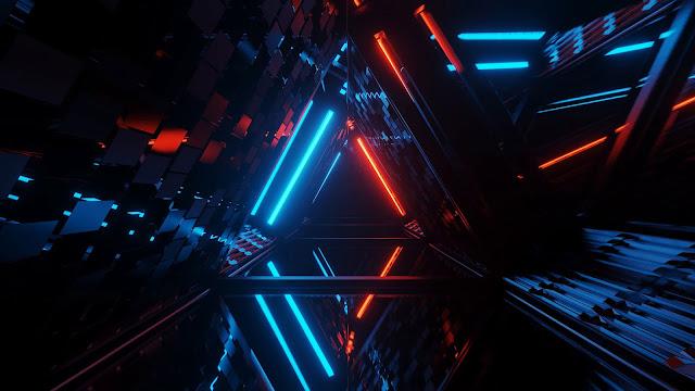 Geometric triangular neon laser light