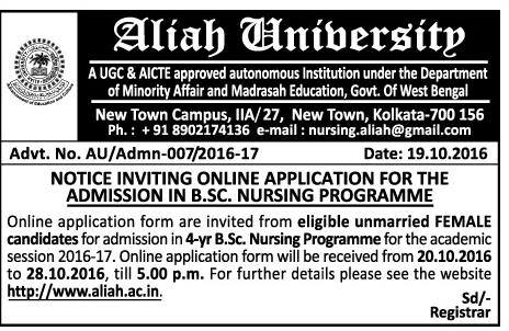 Application for the admission in B.SC. Nursing Programme.