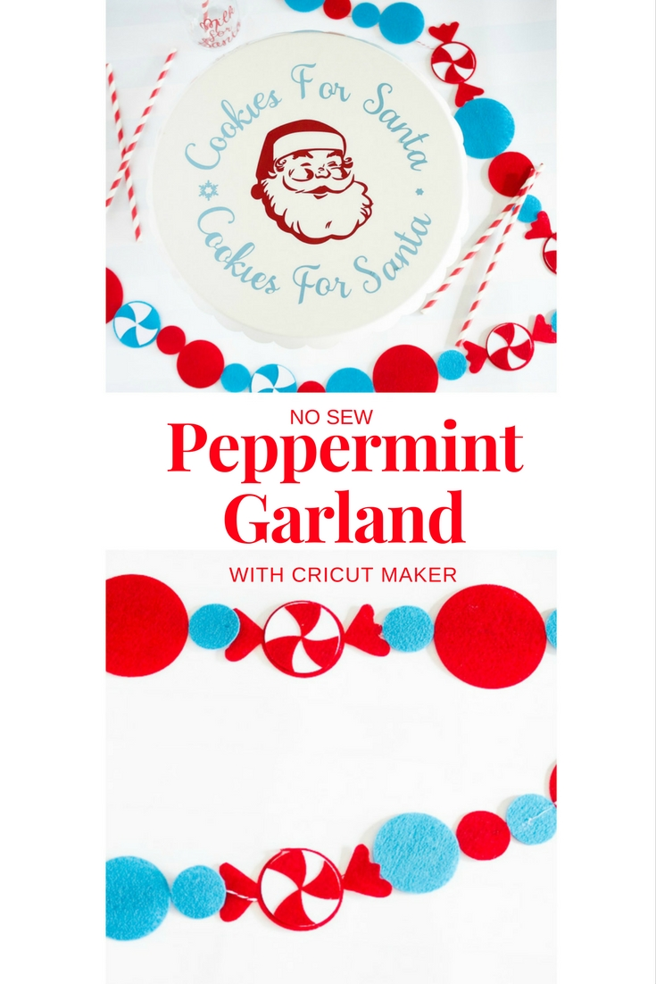 no sew peppermint garland using the cricut maker