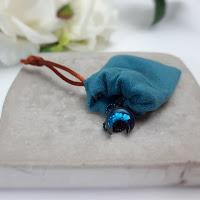 miedziana lunula z niebieskim środkiem - Bibie Blue