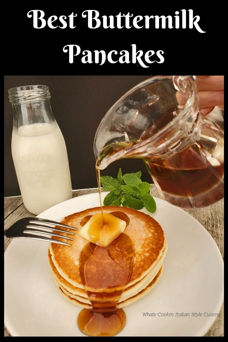 this is a pin for later buttermilk pancake with a glass filled pitcher of syrup a plate of pancakes being poured with it and butter on the pancakes. These sit on a white porcelin plate and there is an old fashioned dairy bottle with a cow on it filled with milk in the background