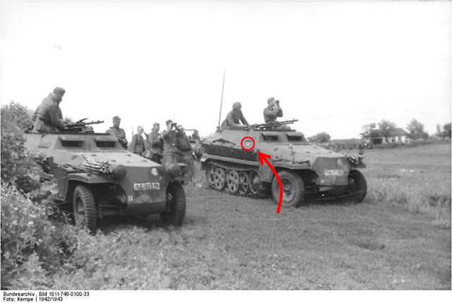 The Uhu motif was painted on the side of the half-tracks