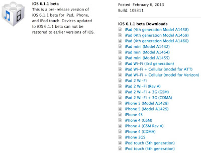 Apple iOS 6.1.1 Beta IPSW Firmwares