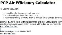 Cálculo de consumo en armas de aire, Cálculo de eficiencia de PCP