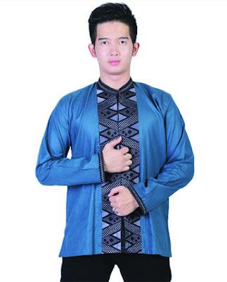 baju, muslim, pria, koko, warna, biru, baju muslim pria koko, motif vertikal ampil