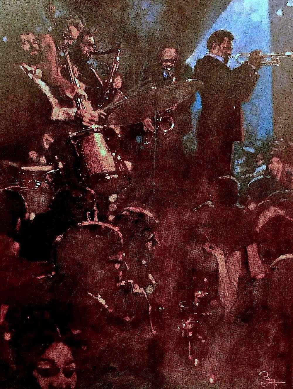 a Bernie Fuchs illustration of jazz musicians playing in a nightclub
