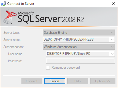 Connect SQL Server Management Studio 2008