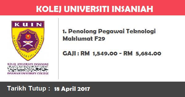 Jawatan Kosong di Kolej Universiti Insaniah (KUIN)