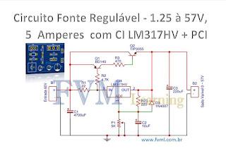 Circuito Fonte Regulável - 1.25V ~ 57V,  5 Amperes  CI LM317HV + PCI