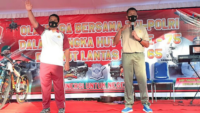 Kompak, TNI-Pori di Lombok Timur gelar olahraga bersama