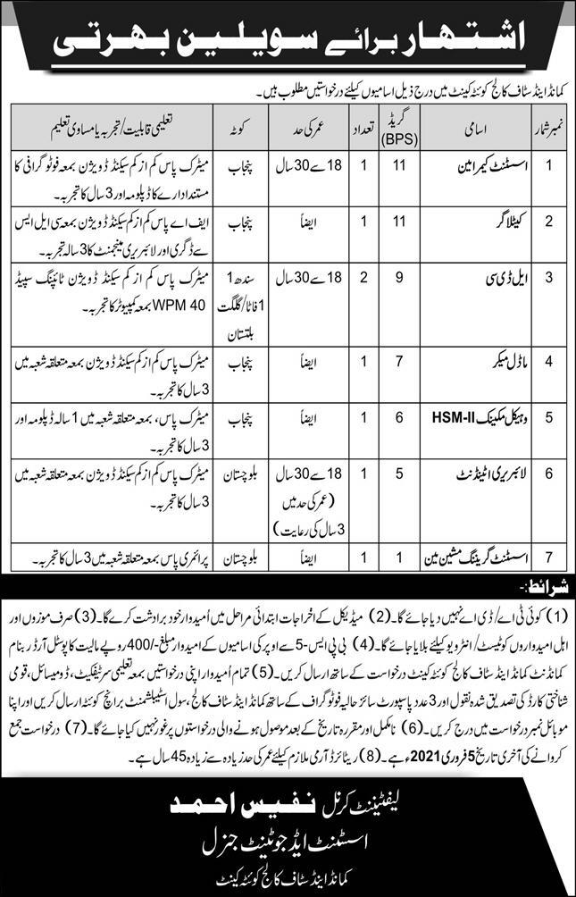 Join Pak Army Civilian Command & Staff College Quetta Jobs 2021