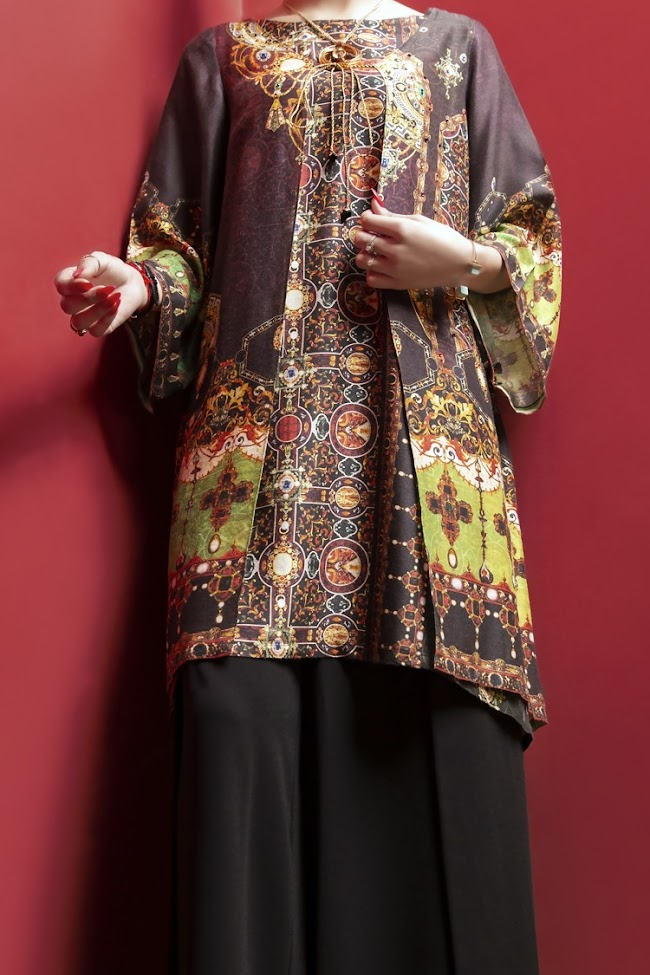 Almirah maroon color poly viscose kurta ready to wear Eid collection
