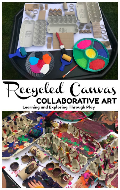 Recycled Canvas Painting Ideas for Preschool. Collaborative Art for Kids.