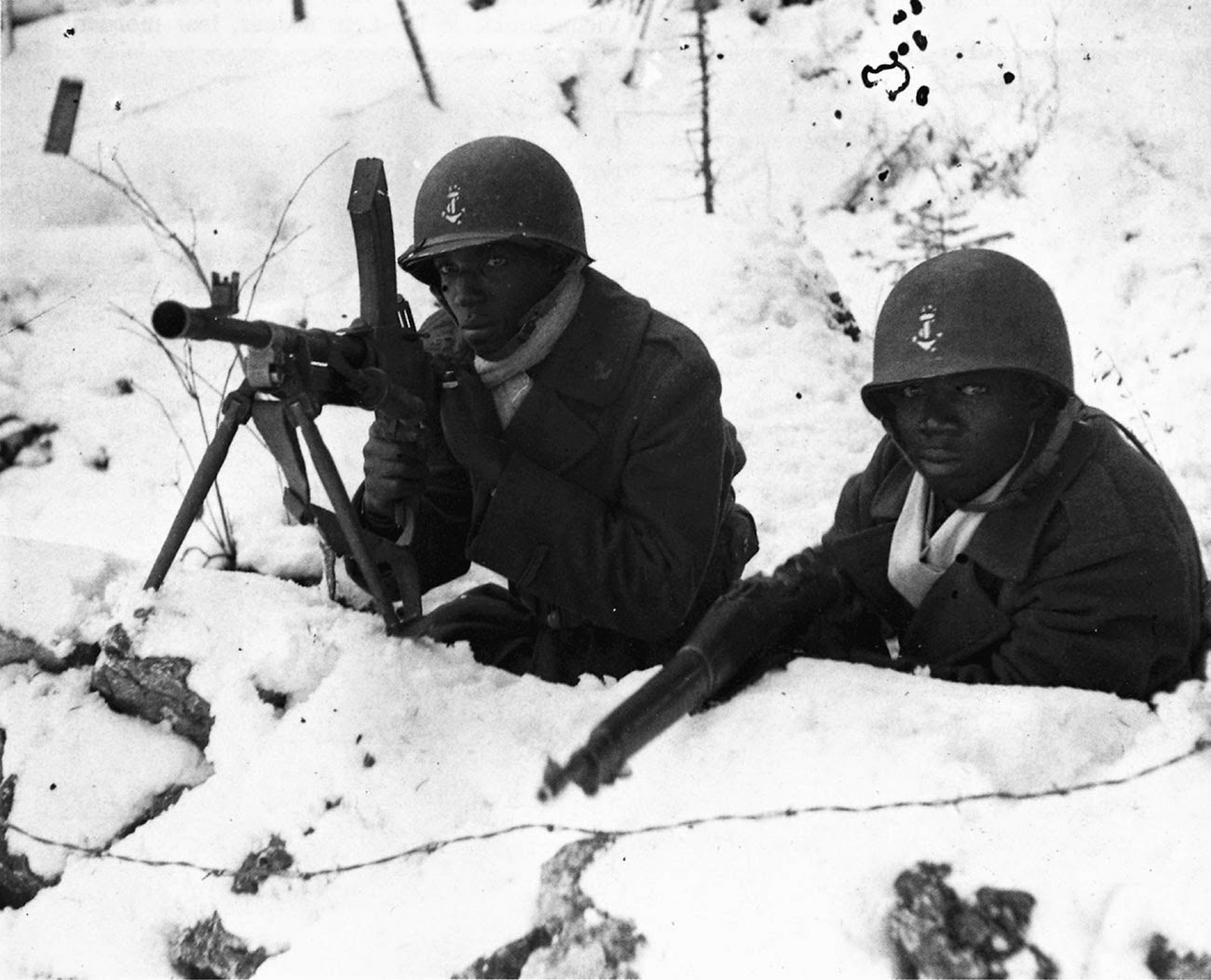 Soldiers from the French African colonies holding a position at Boucle du Doubs, near Besancon, France, winter of 1944.