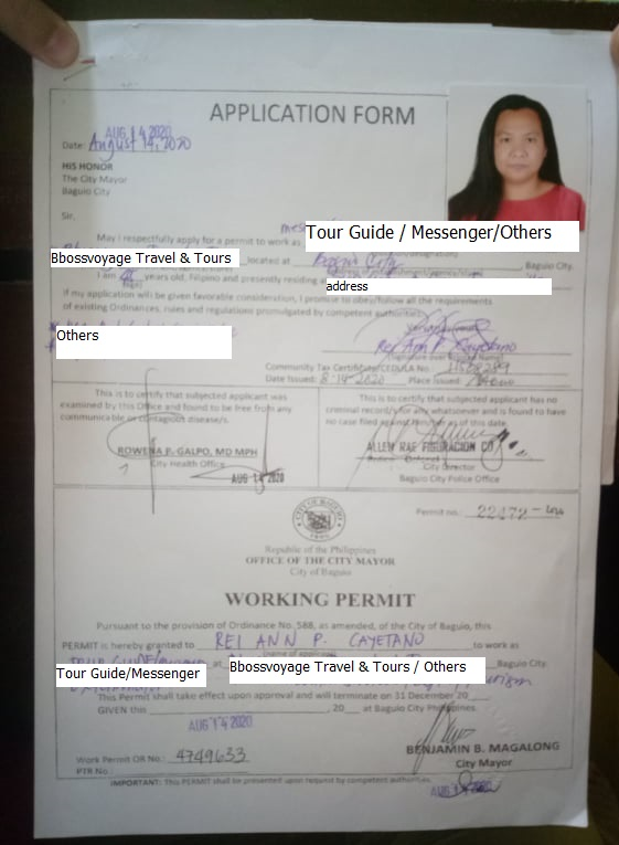 Baguio CMO / PESO Working Permit
