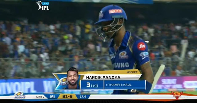 Hardik Pandya gets trolled in the game against SRH