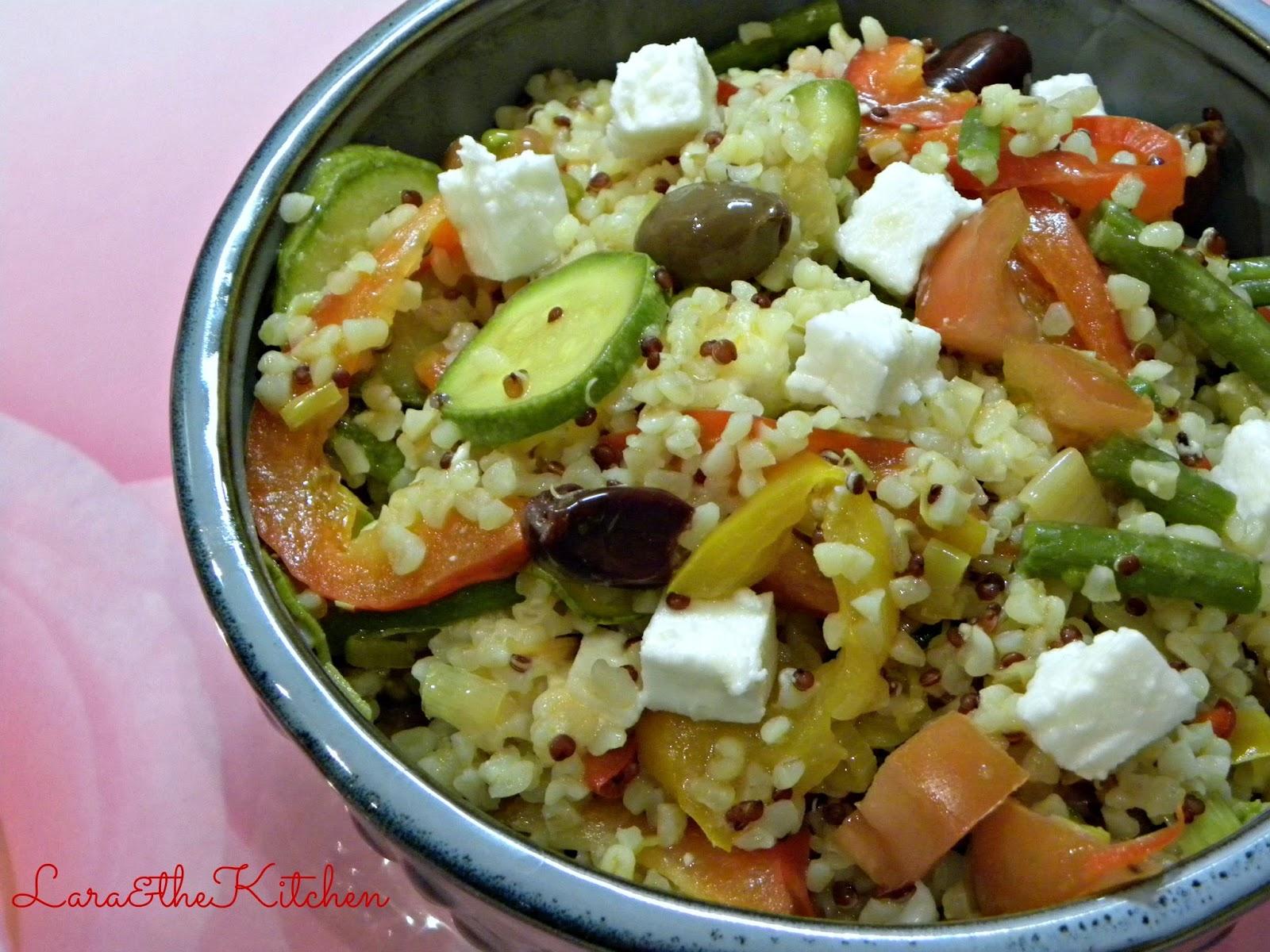 Ricetta Quinoa E Bulgur.Lara Thekitchen Insalata Di Bulgur E Quinoa Alle Verdure E Feta