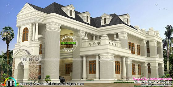 Colonial model house rendering architecture