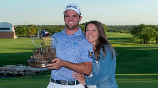 Corey Conners On The Course With His Wife Malory Conners After His Valero Texas Open Win