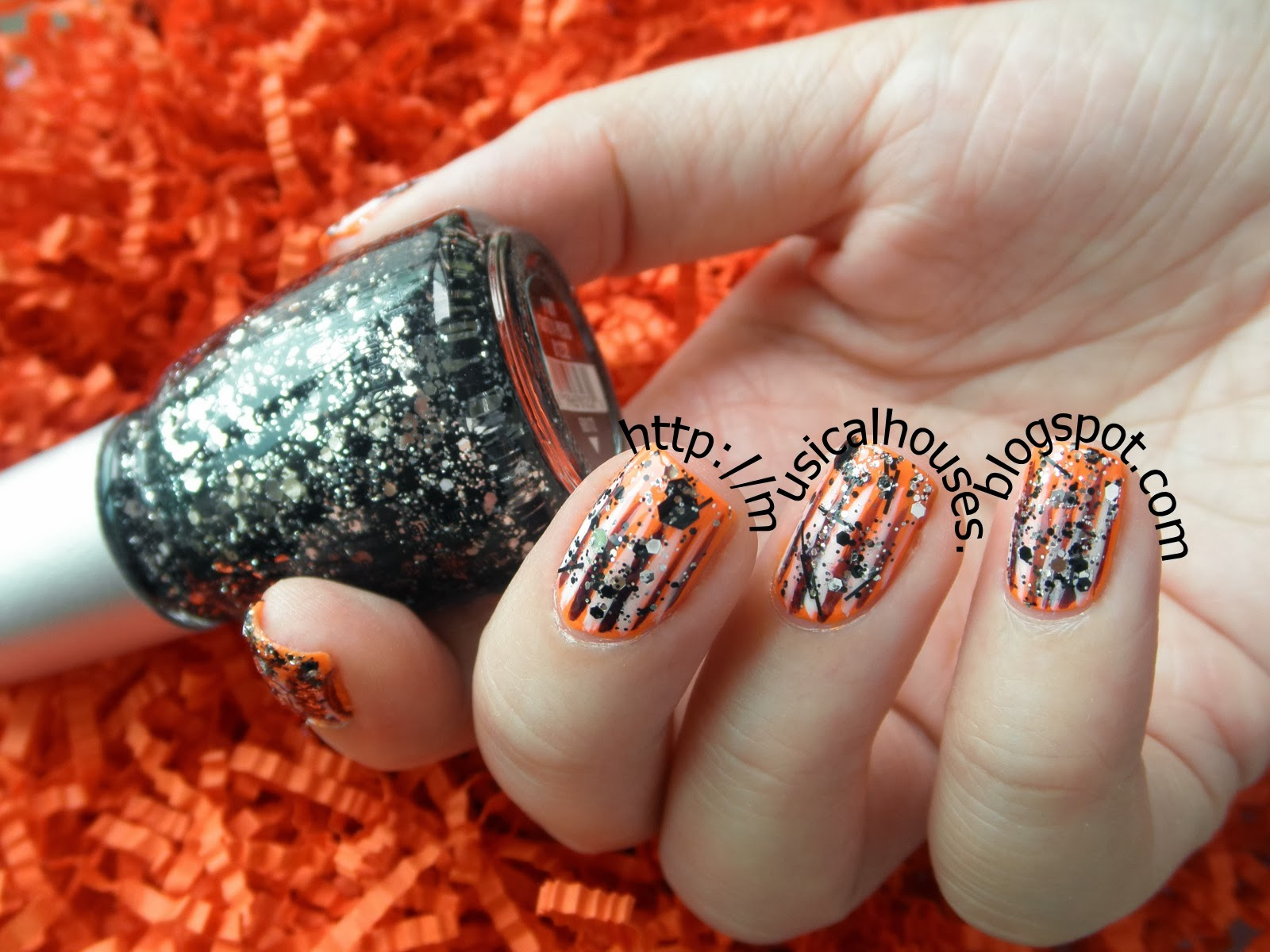 Halloween Manicure: Neon Orange, Glitter, and Stripes (aka ...