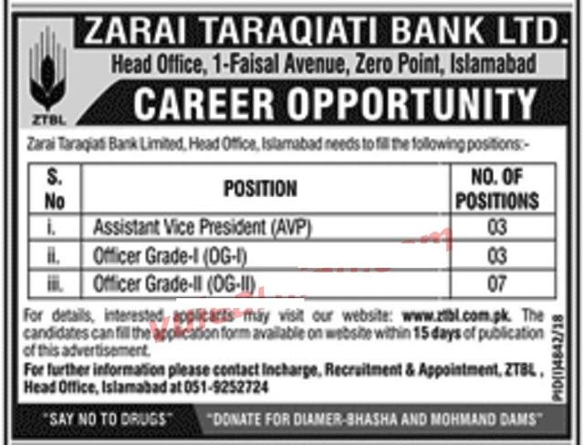 ZTBL Officer Grade Jobs 2019