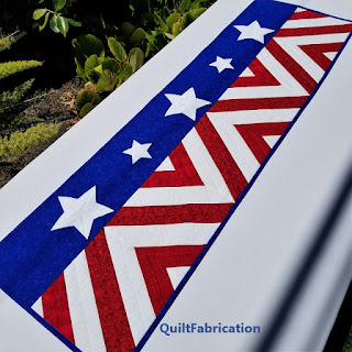 4th of July-red white blue-patriotic-table runner-quilt