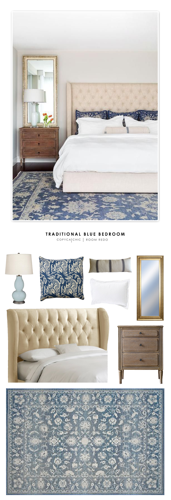 copy cat chic room redo blue traditional bedroom copy cat chic