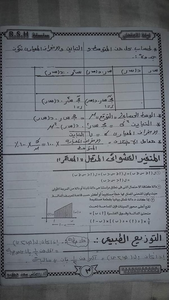 مراجعة الإحصاء للصف الثالث الثانوي أ/ روماني سعد حكيم
