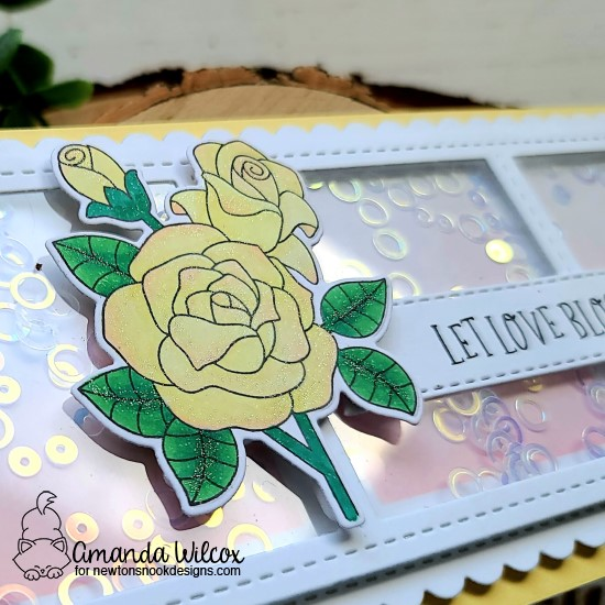 Slimline Shaker Card with Roses by Amanda Wilcox | Roses Stamp Sets, Slimline Masking Circles & Squares Stencil Set, and Dies by Newton's Nook Designs