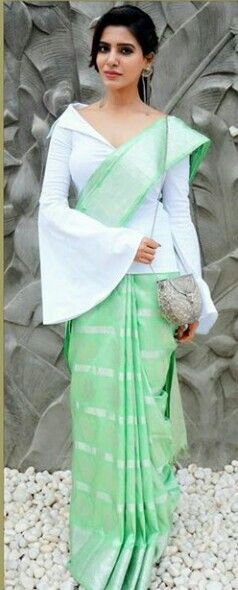6637d5e14e5 Don t get thinking that you can t wear a cotton saree as an evening wear  saree. A cotton saree when paired with a western blouse can look amazing  when .