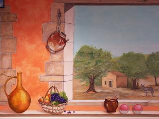 trompe-l'oeil, fresque, décor, peinture, orangé, panier