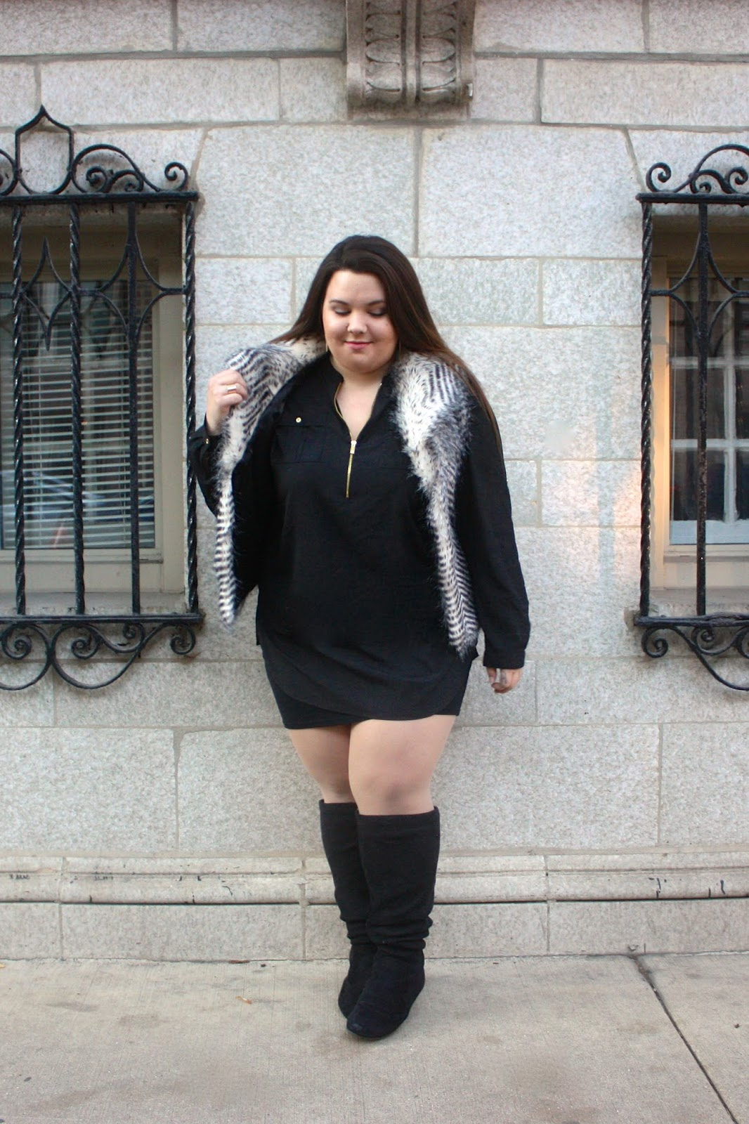 natalie craig, devon rachel, devon cruse, fur vest, how to wear a fur vest, how to wear fur, natalie in the city, chicago, winter trends 2015, plus size fashion blogger, plus size, ps fashion, ootd, blogger in fur, plus size faux fur