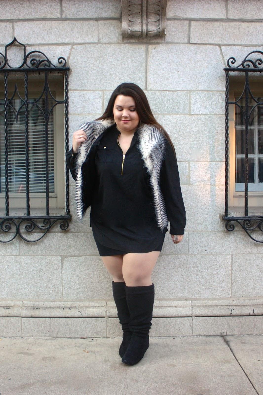 natalie craig, devon rachel, devon cruse, fur vest, how to wear a fur vest, how to wear fur, natalie in the city, chicago, winter trends 2015, plus size fashion blogger, plus size, ps fashion, ootd, blogger in fur, plus size faux fur