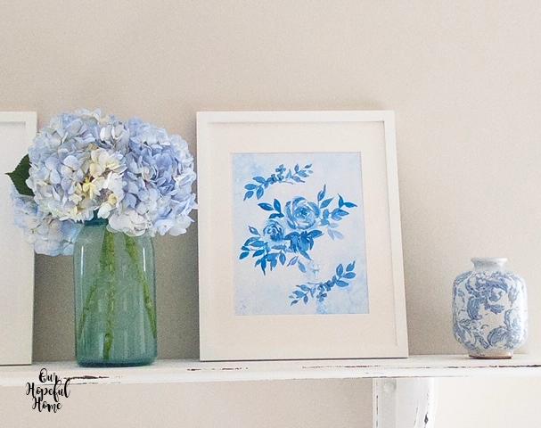 blue white floral free printable blue mason jar hydrangeas