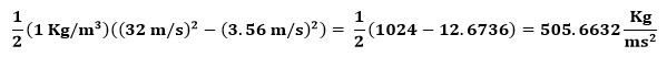 Cálculo de la energía cinética en la ecuación de Bernulli del ejemplo 1