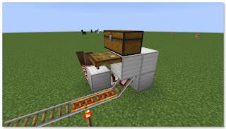 Minecraft 高速トロッコ輸送 アイテム積み込み駅 作り方⑦