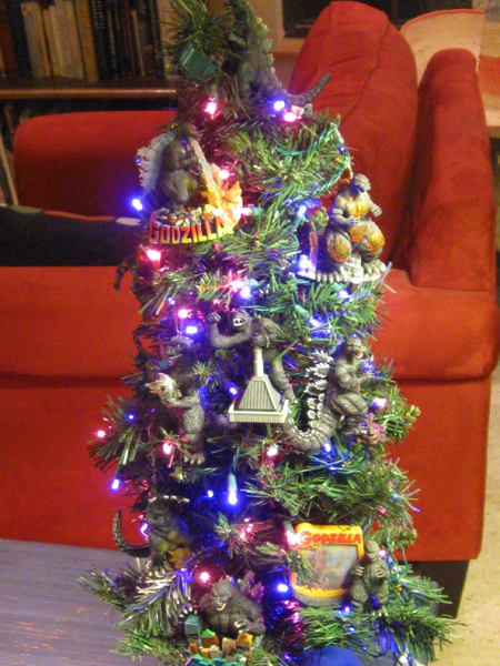 Godzilla holiday tree - full view