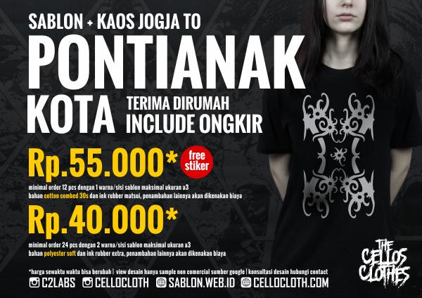 Harga sablon kaos PONTIANAK Kota dari Jogja include ongkos kirim