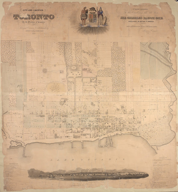 1842 Topographical Plan of the City and Liberties of Toronto, James Cane - colour