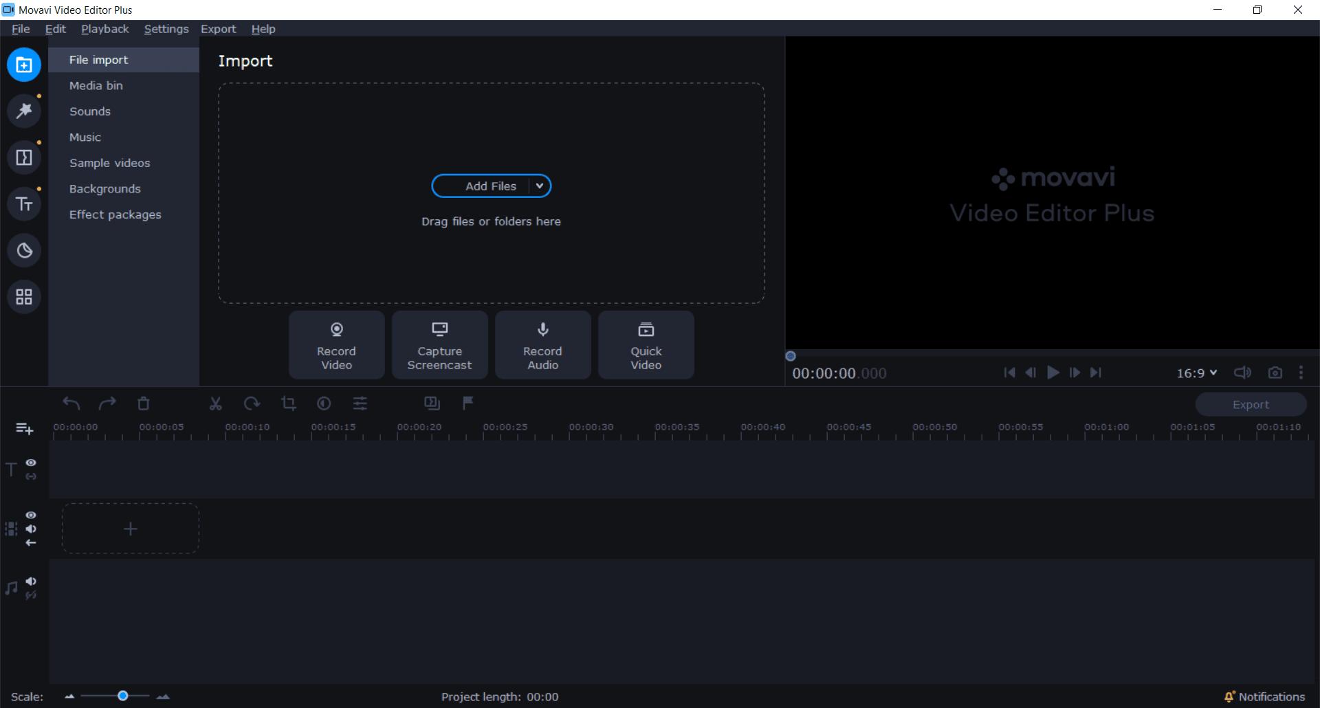 Movavi Video Editor Plus Main Interface Screenshot