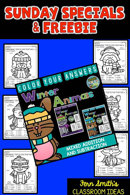 Fern Smith's Classroom Ideas Sunday Special and Freebie: Color Your Answers Addition and Subtraction Printables at TeacherspayTeachers.