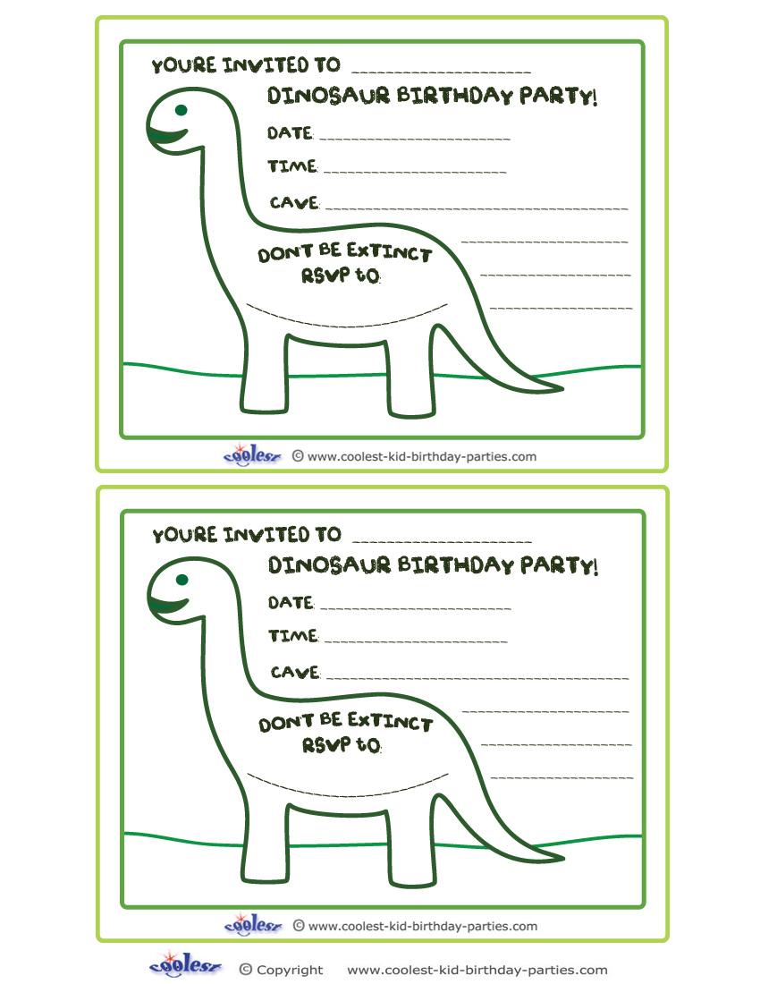 żółty Balonik Dinozaury Zaproszenia