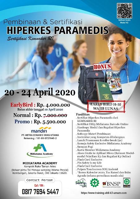 Hiperkes Paramedis tgl. 20-24 April 2020 di Jakarta