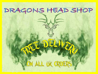 Poster advertising free postage and packing to UK, Dragons head breathing smoke