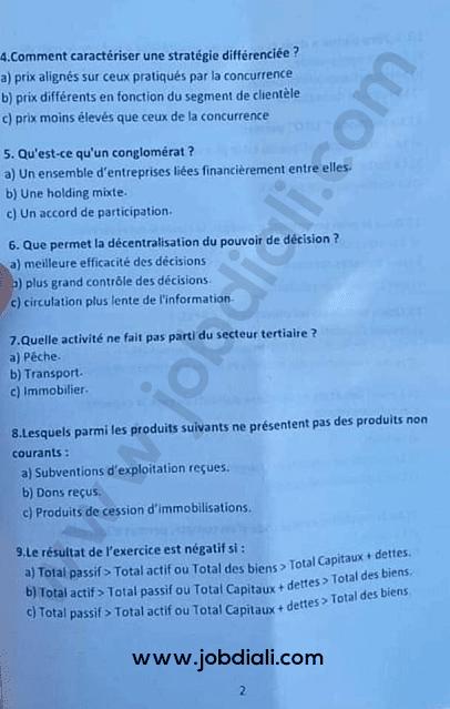 Exemple Concours des Techniciens de 3ème grade Gestion des Entreprises - Ministère des Habous et des Affaires Islamiques