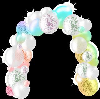 Grafik von einem stilisierten Ballonbogen.