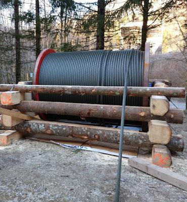 Talstation: Abwickeln des Stahldrahtseils