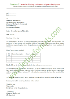 letter placing an order for sports items in english
